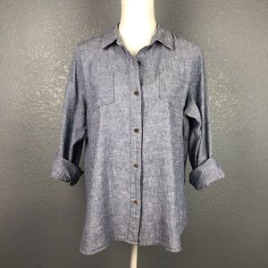 NORTH FACE Linen Chambray Button Down Top